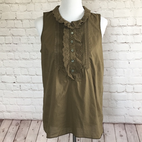 J. Crew Tops - J. Crew Olive Green Tank with Ruffles